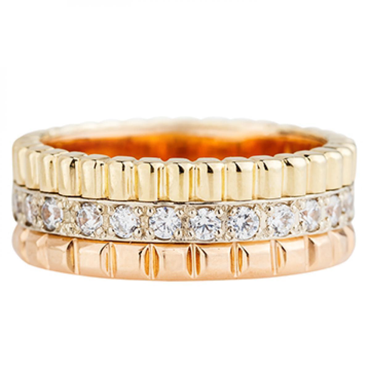 Перстень монобрендова з цирконієм ``Quatre`` з комбінованого золота (18)