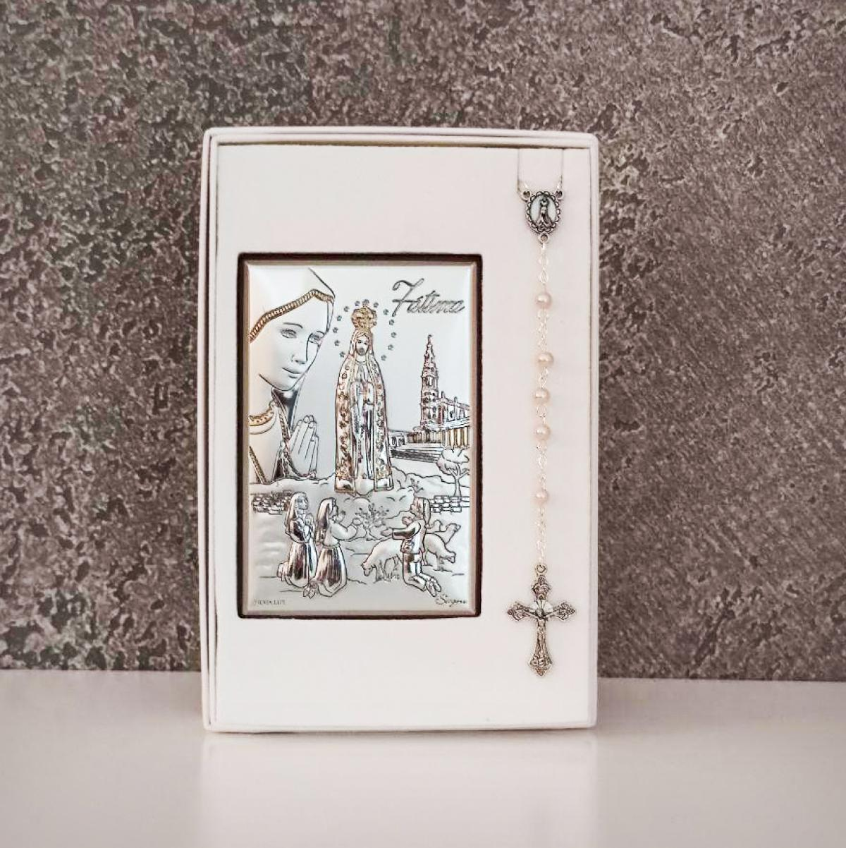 Подарунковий комплект до Першого Причастя ``Ікона Богородиці ``Фатіма`` та вервиця``