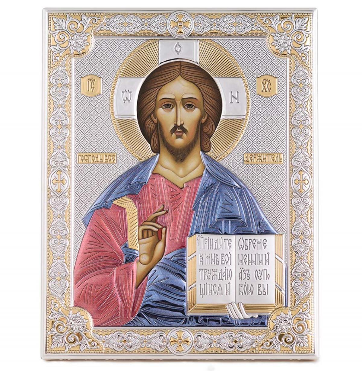 Ікона срібна Ісус Христос Вседержитель 12х16см 85300 3LCOL