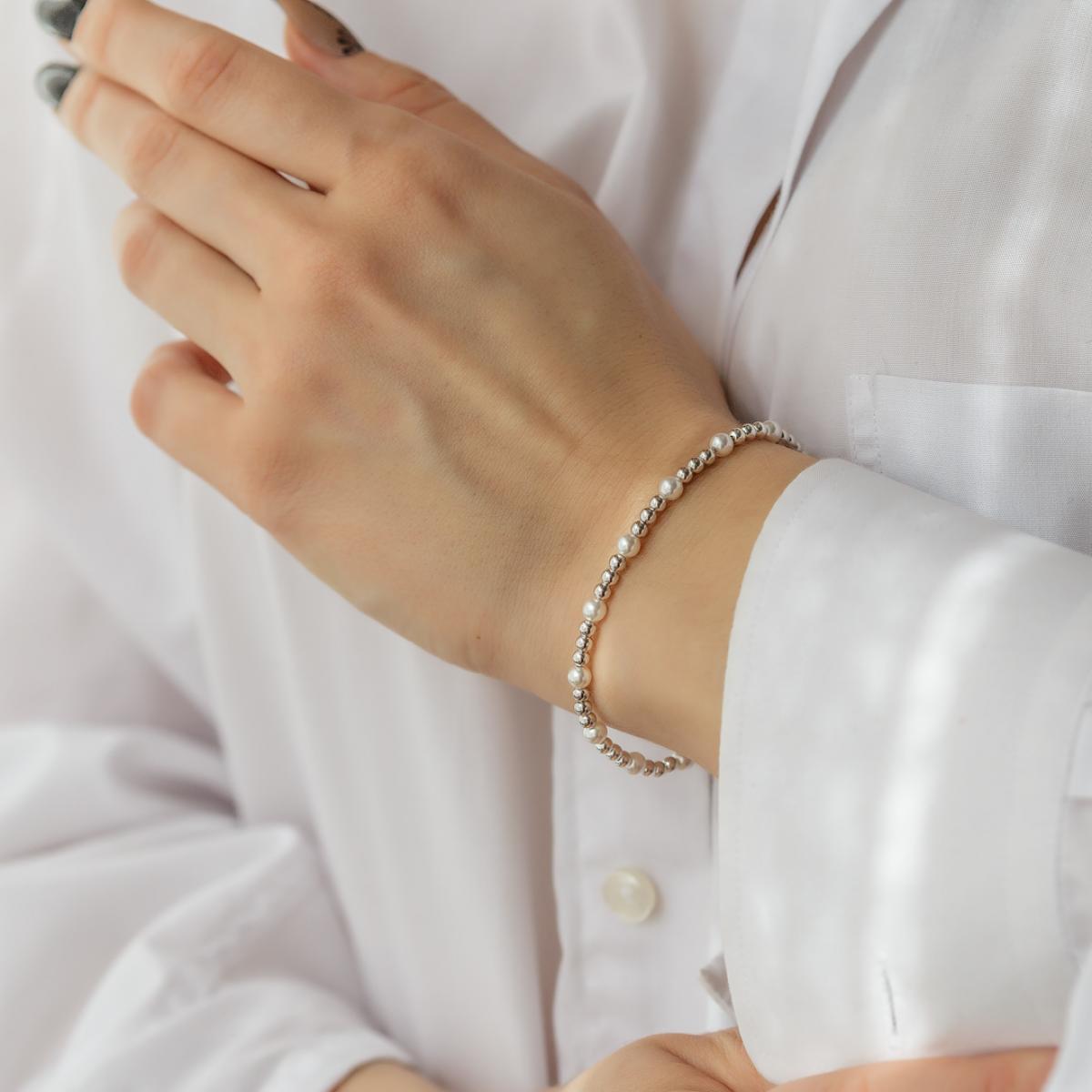 Срібний браслет з перлинами  (розмір 19.5)