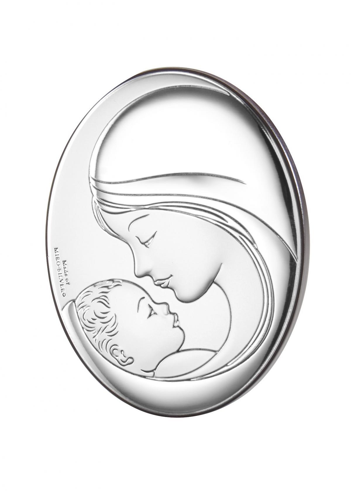 Ікона срібна овальна ``Мадонна з Немовлям`` (7х9см)  81381 2L