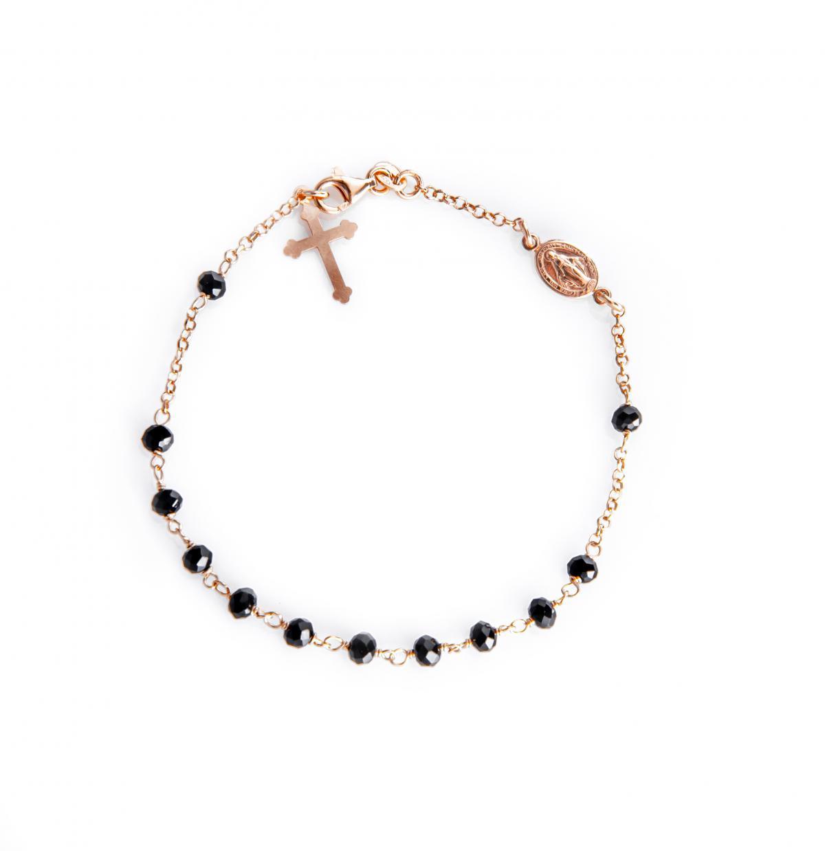 Срібний браслет-вервиця з позолотою ``Ave Maria`` (розмір 20)