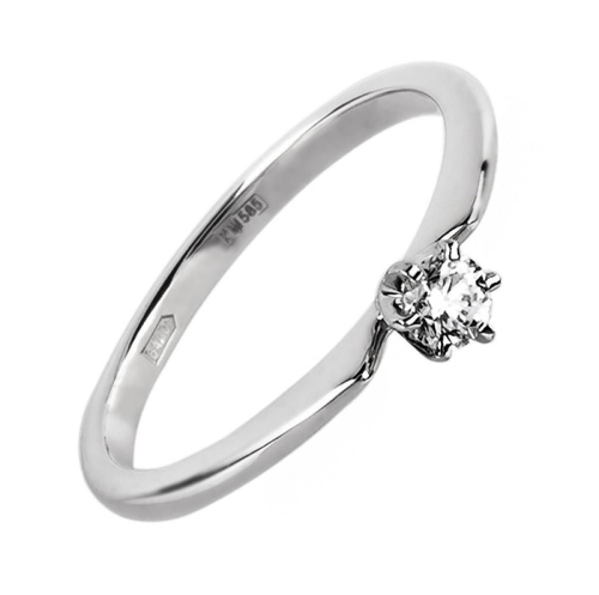 Перстень із білого золота ``Jane`` з діамантом 0,12ct(16,5-1,71)