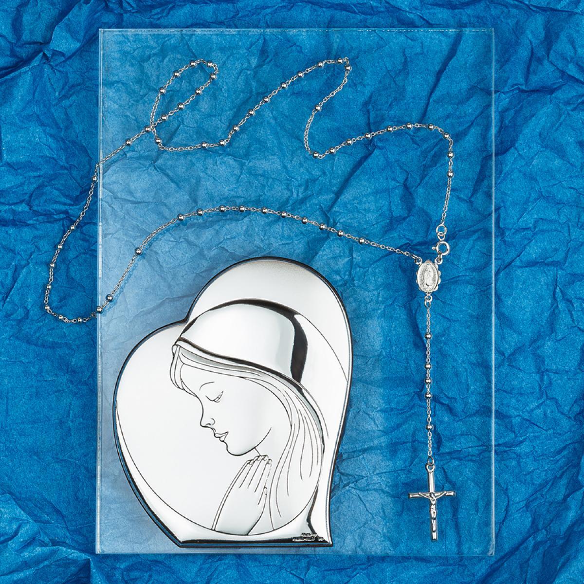 Подаруковий набір ``Срібна ікона Богородиці + срібна вервиця``
