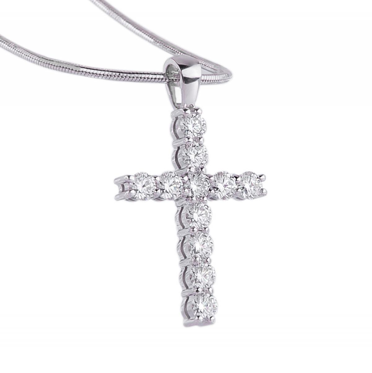 Жіночий золотий хрест з діамантами (0.43ct)