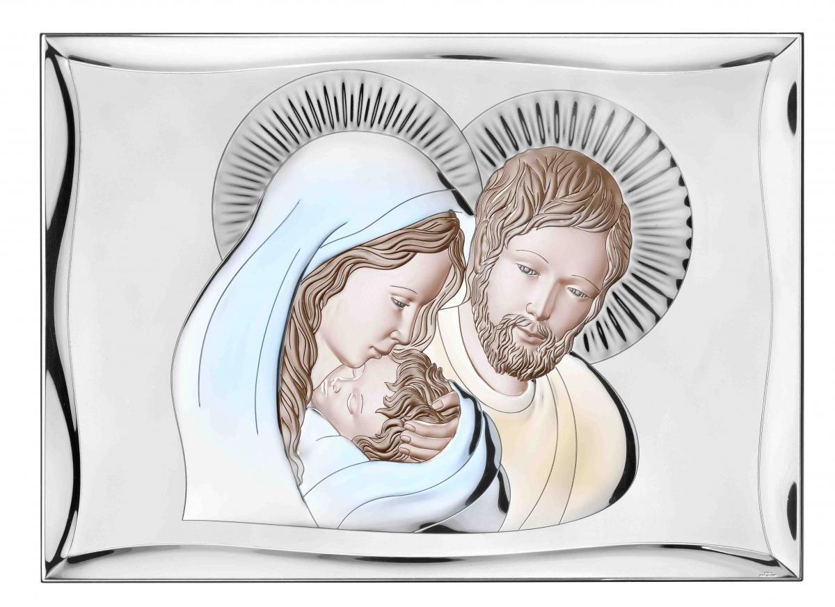 Ікона срібна Свята Родина кольорова 28х40см  81301.6L.COL