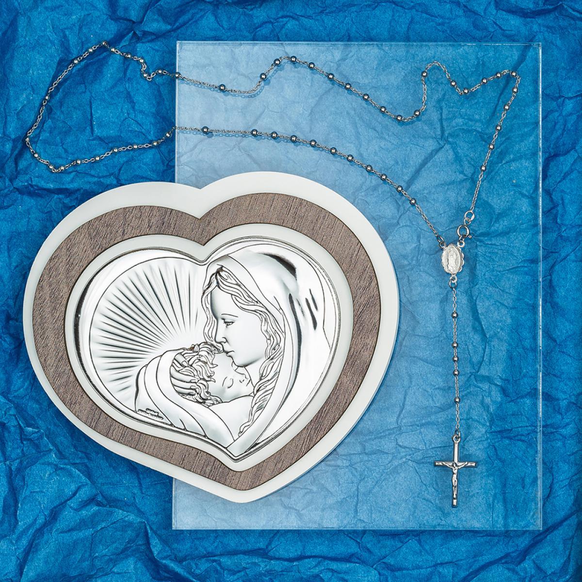 Подарунковий набір ``Ікона Богородиці (15х13см) та срібна вервиця``