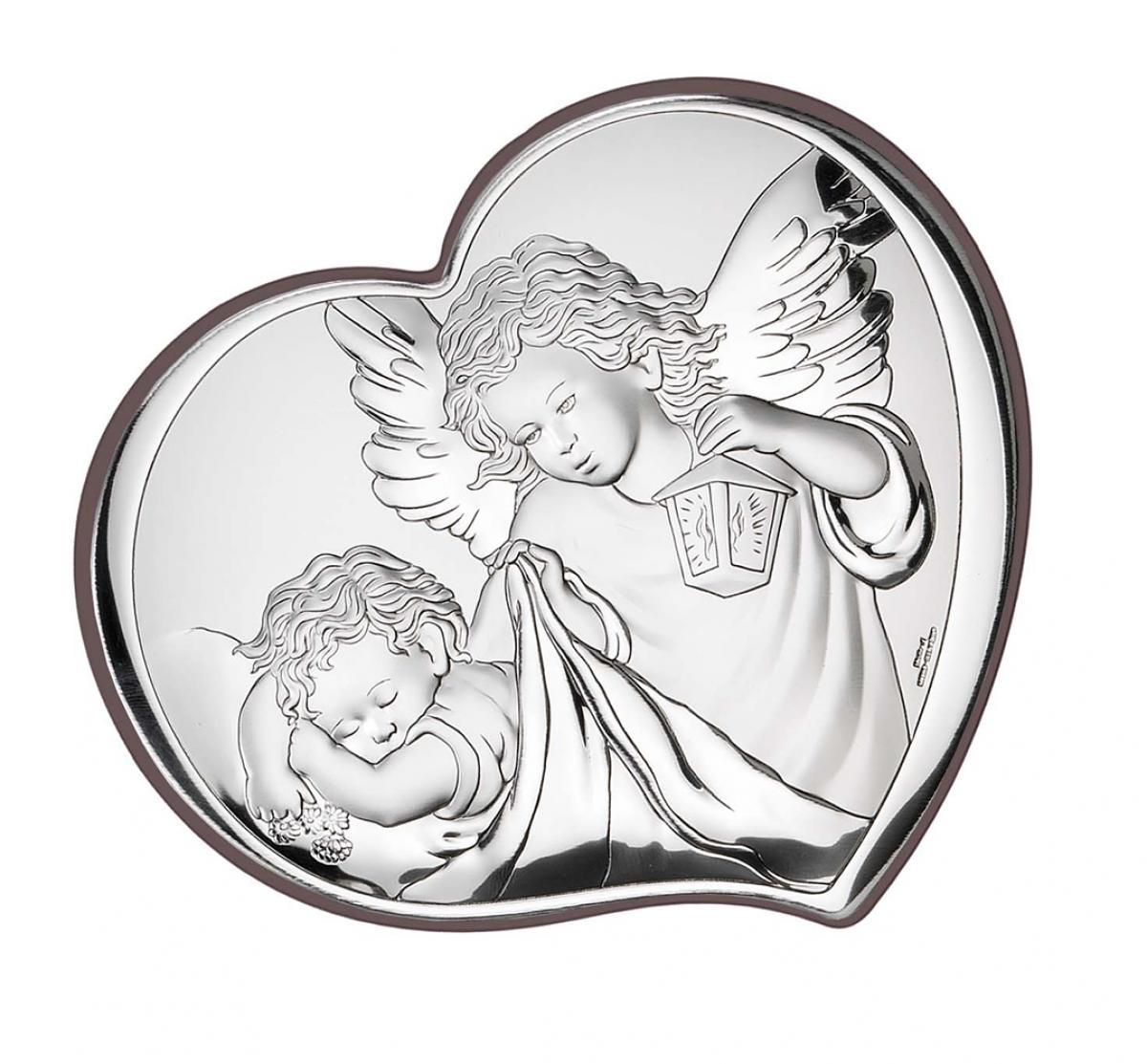 Ікона срібна Ангел-охоронець 9х11см 81258 2L