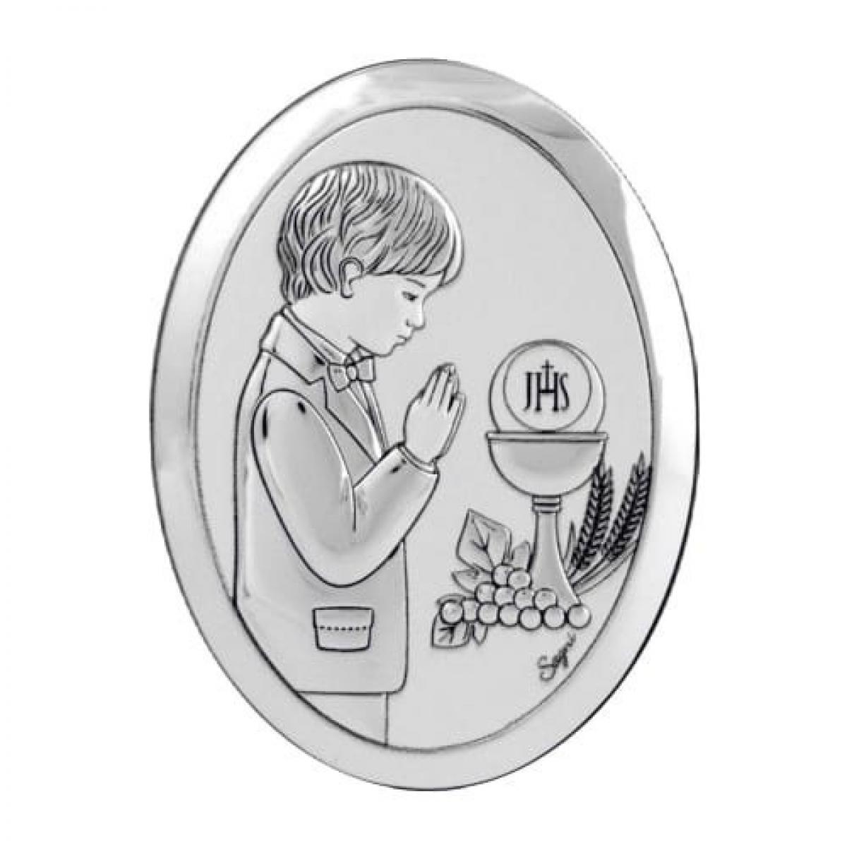Срібний образ ``Перше Причастя`` для хлопчика (10х13см)
