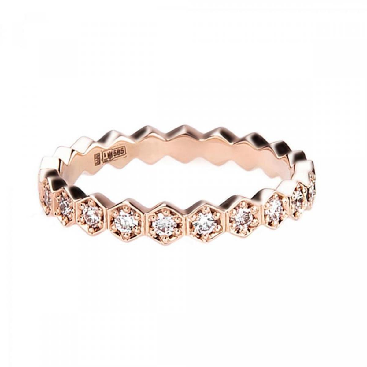 Перстень з діамантами ``Медові соти`` з червоного золота (16)