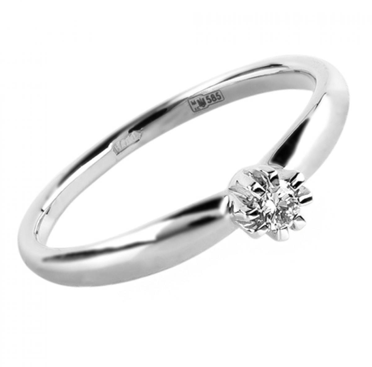 Каблучка в білому золоті з діамантом ``Helen``(16,5-2,21)