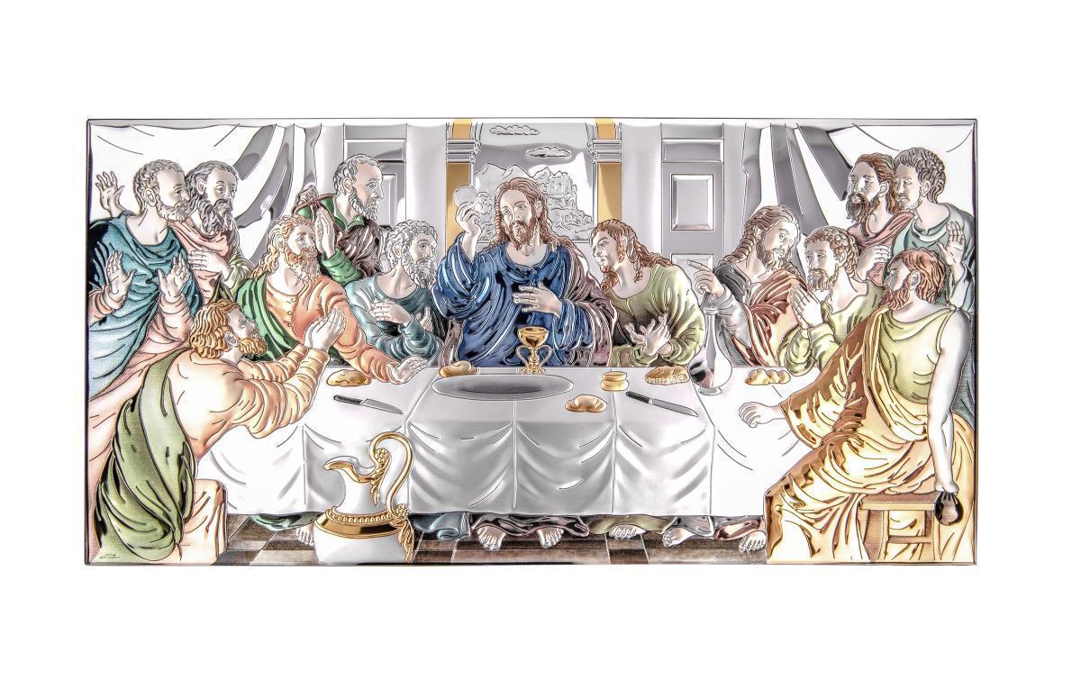 Ікона срібна Тайна вечеря кольорова 50х24см 81323.7LCOL
