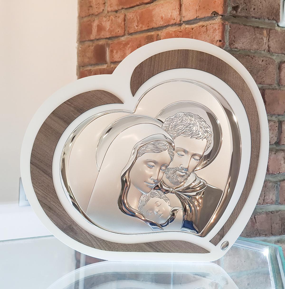 Ікона срібна у формі серця ``Свята Родина`` (52х47см) L220 7
