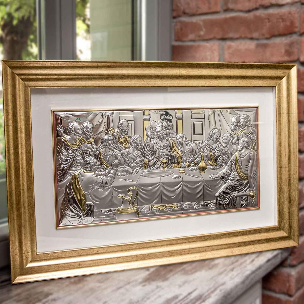 Ікона срібна під склом Тайна Вечеря (50х24.5 см) 81236/2LORO