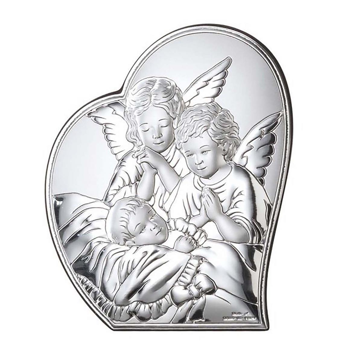 Ікона срібна Ангел-охоронець 9х11см 81084 1L