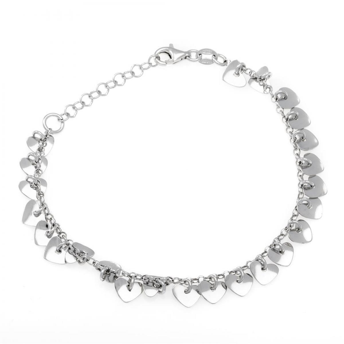 Срібний браслет в стилі Tiffany з сердечками (розмір 19)