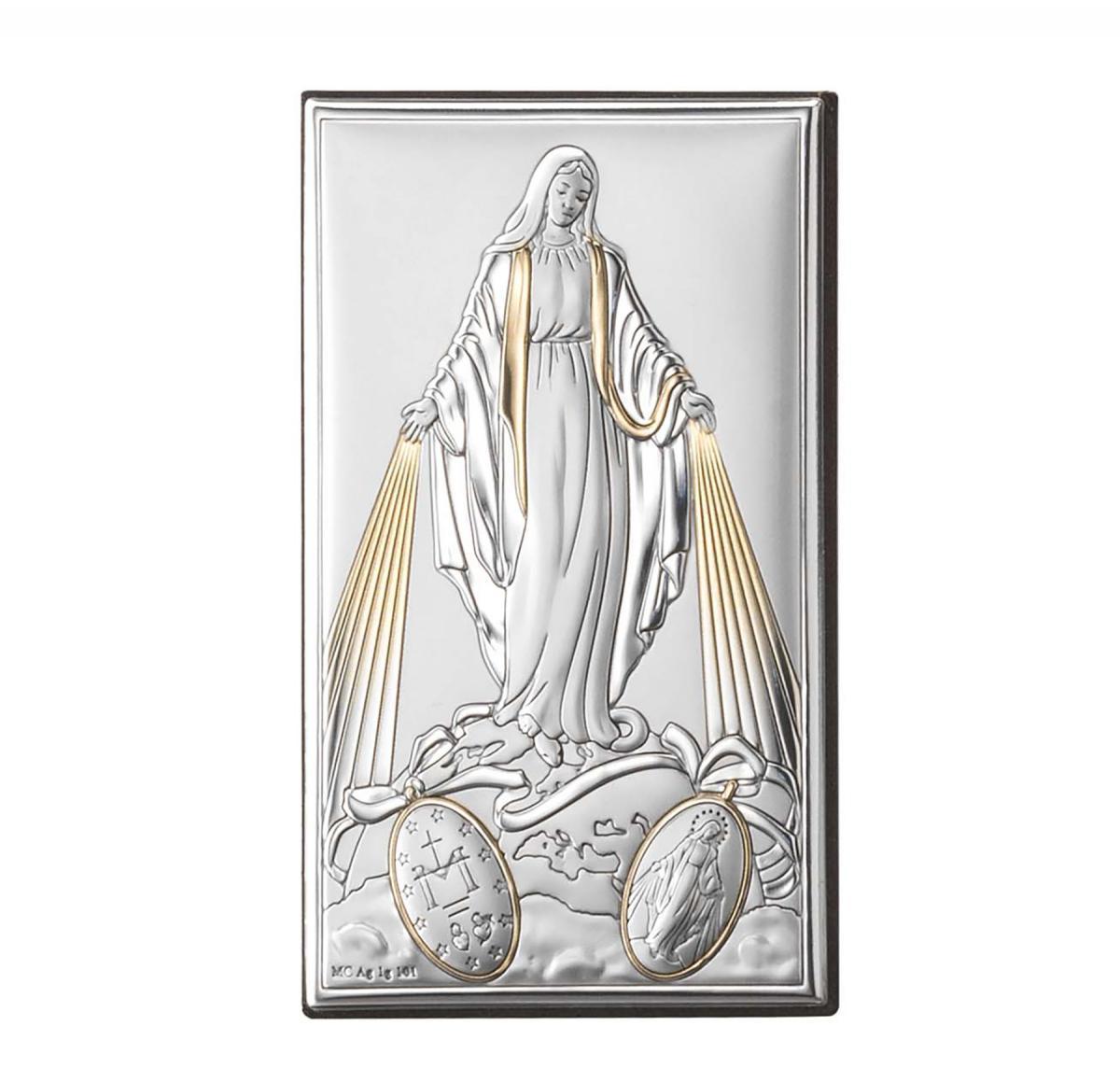 Ікона срібна Непорочне зачаття Діви Марії з позолотою 12х20см 81322 4XLORO