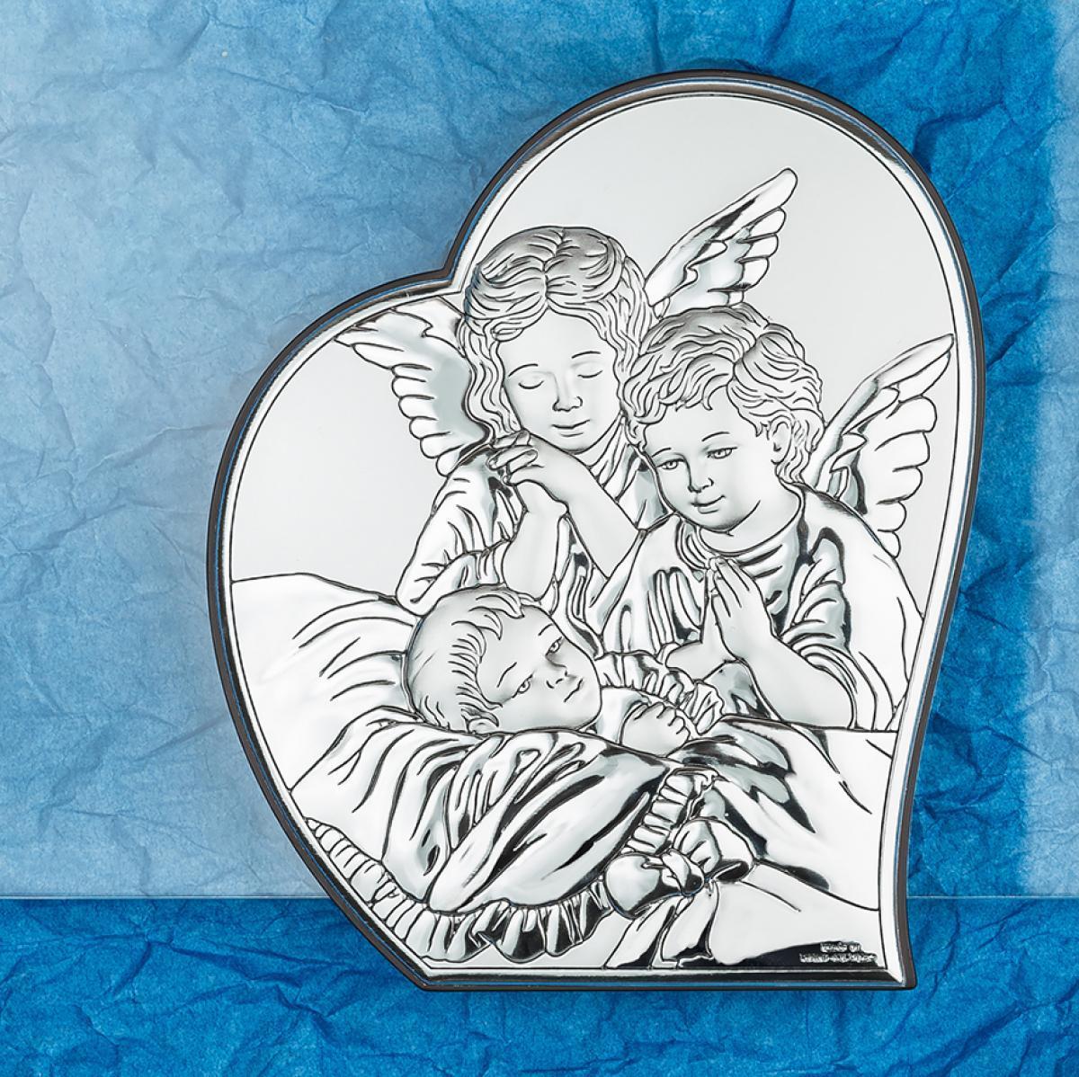 Ікона срібна Ангел-охоронець 12х16см 81084 2L