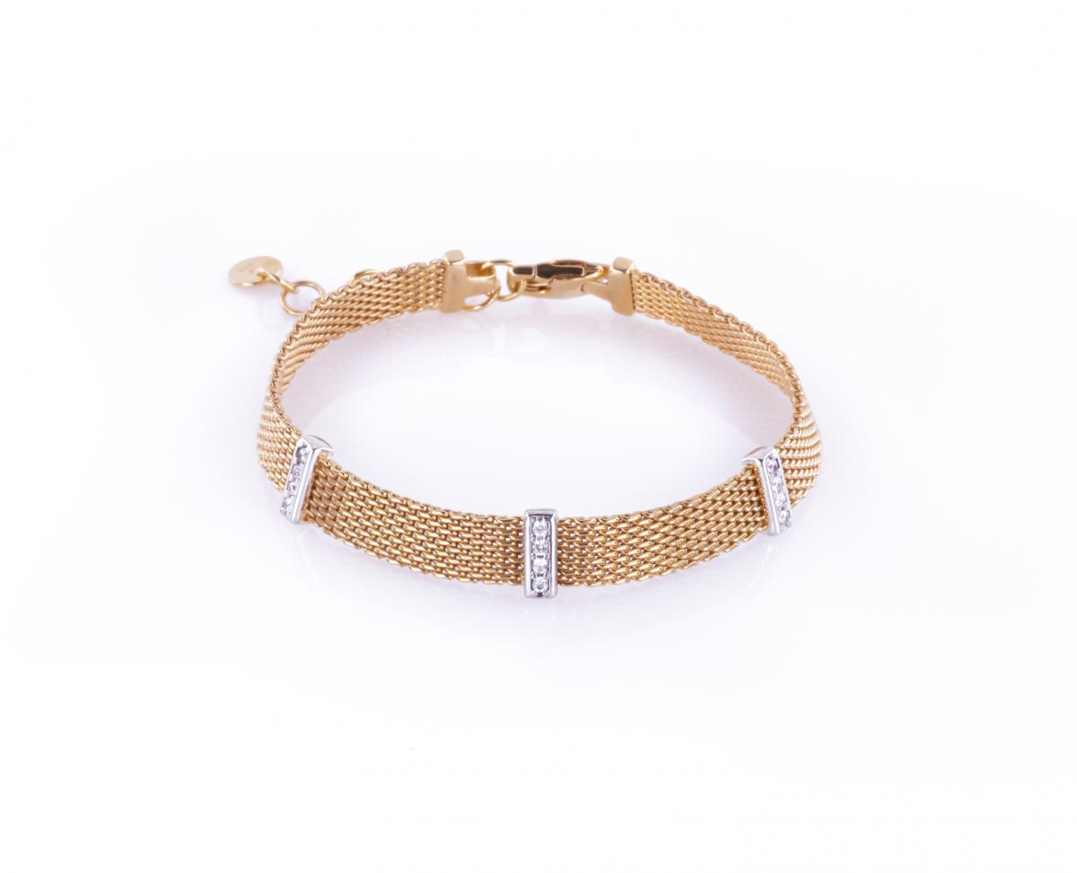Браслет срібний ``Milano Gold`` з позолотою (розмір 20)