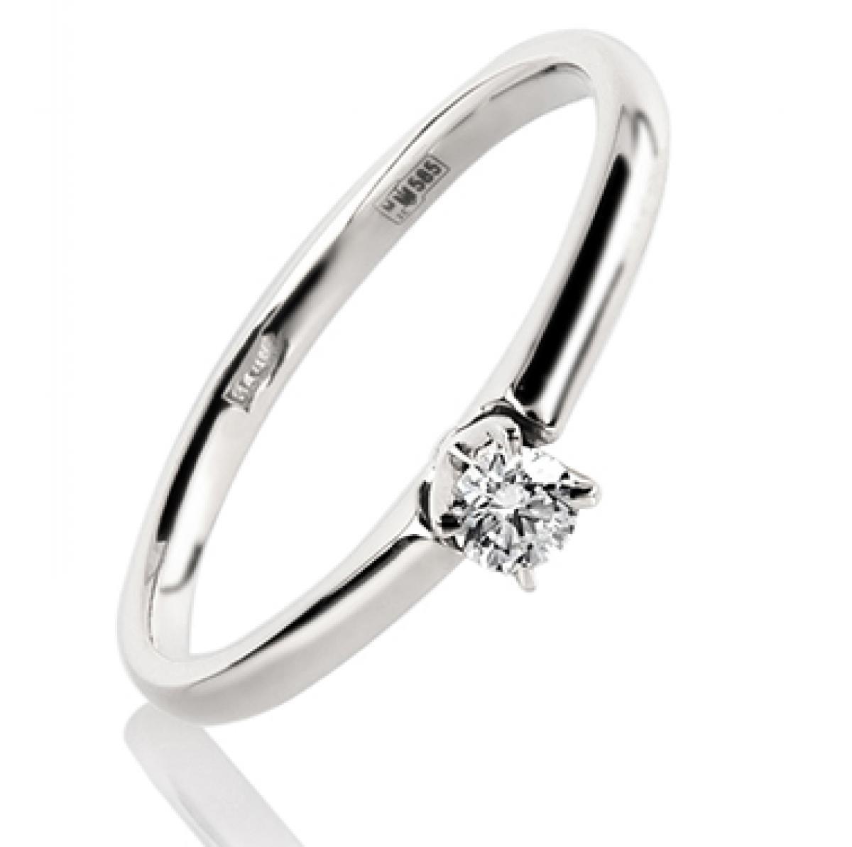 Перстень з білого золота з діамантом ``Princess``(16,5-1,56)