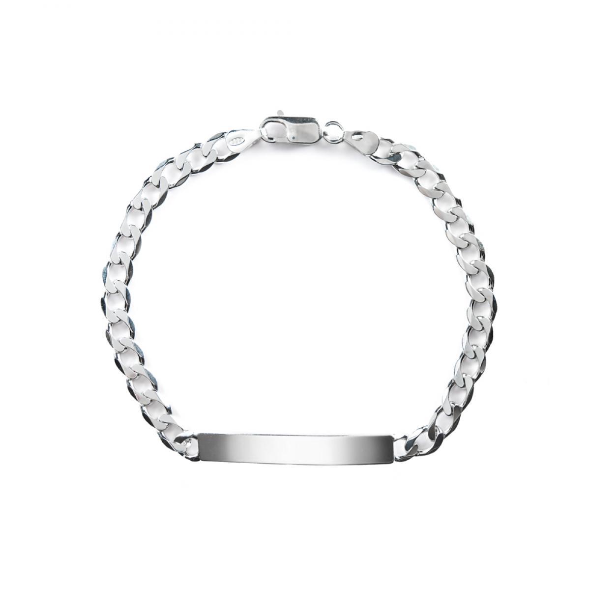 Срібний браслет с пластиною для гравіювання (розмір 22)