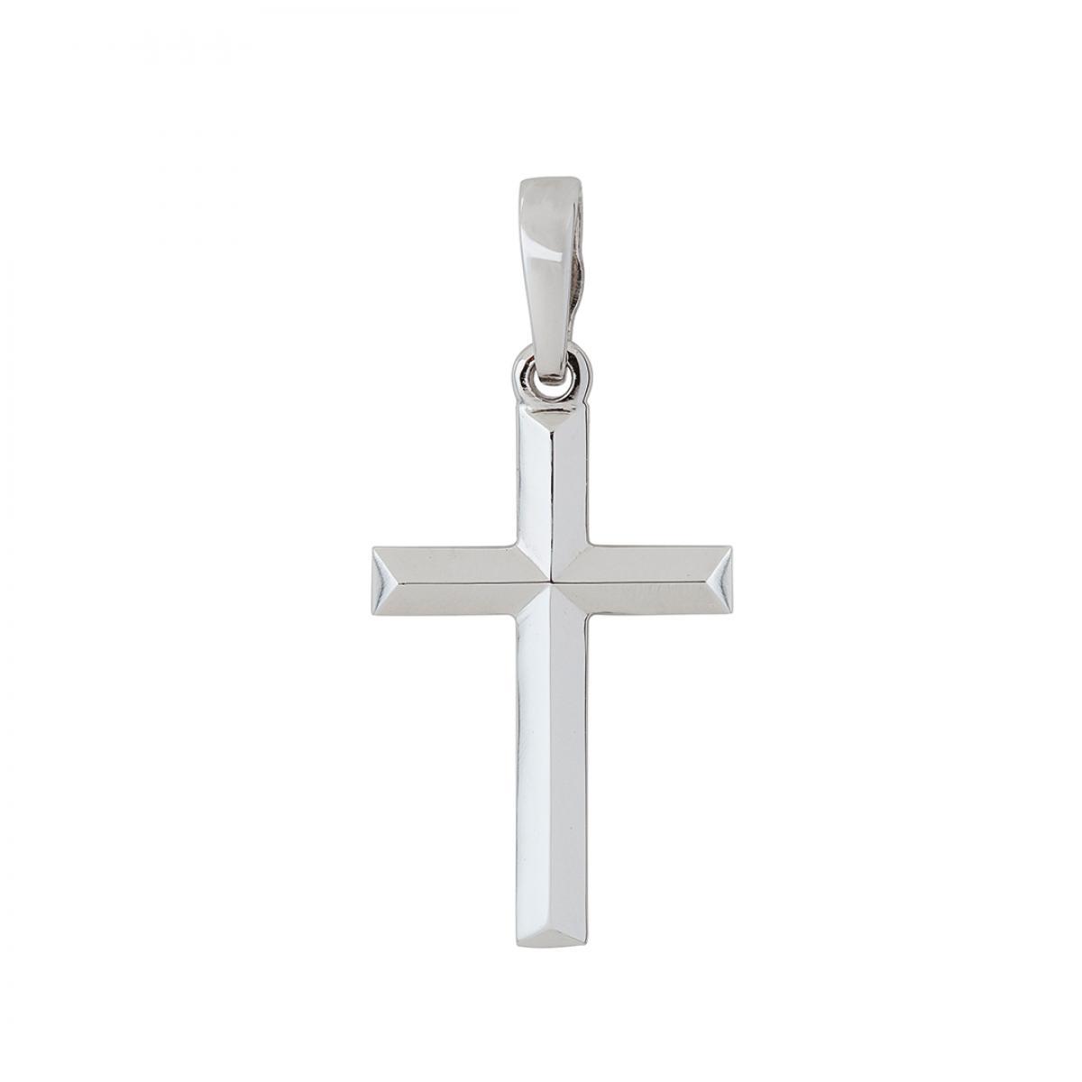 Хрест натільний класичний з білого золота, без розп`яття