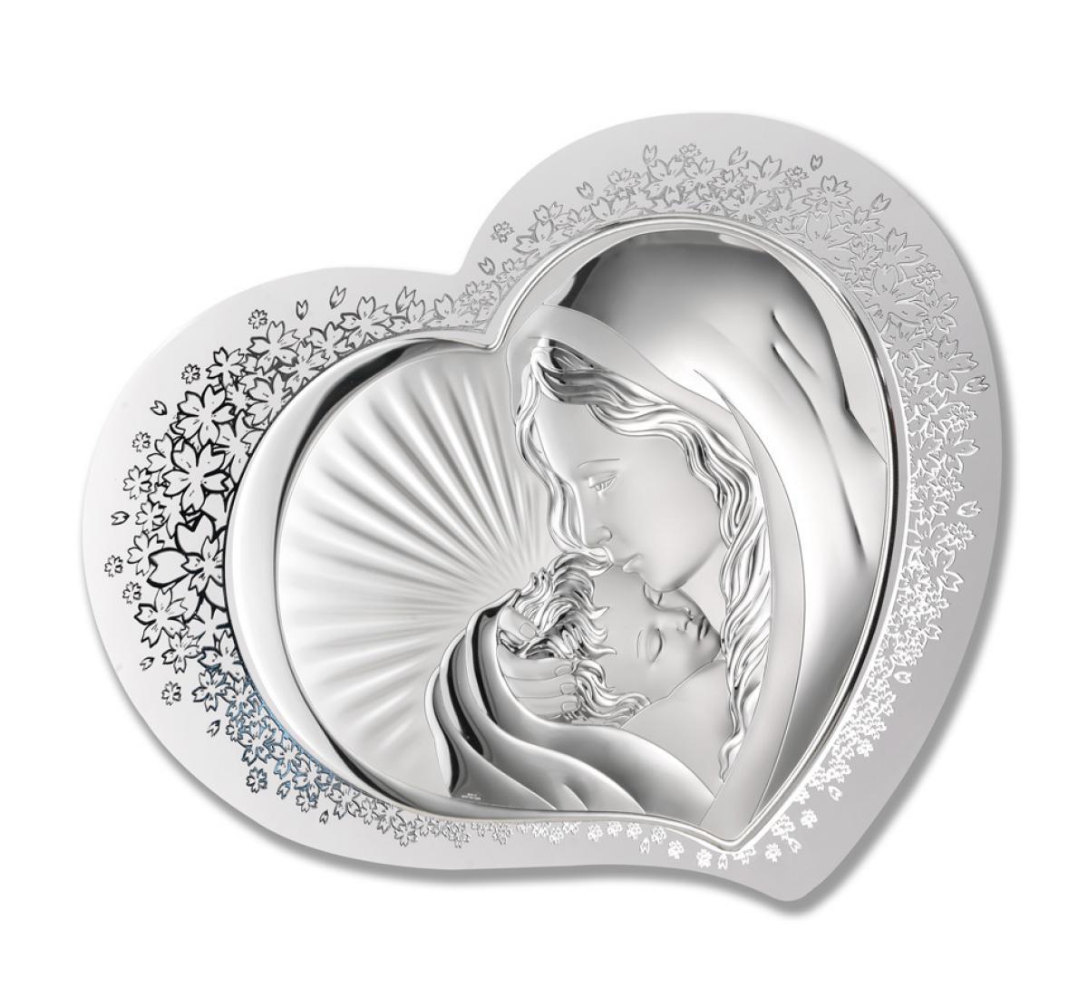 Ікона срібна Богородиця з дитям 37х30см 81311 1L
