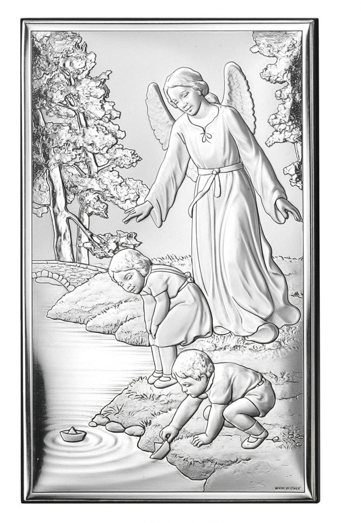 Ікона срібна Ангел-охоронець над річкою 12х20см 18001 3L