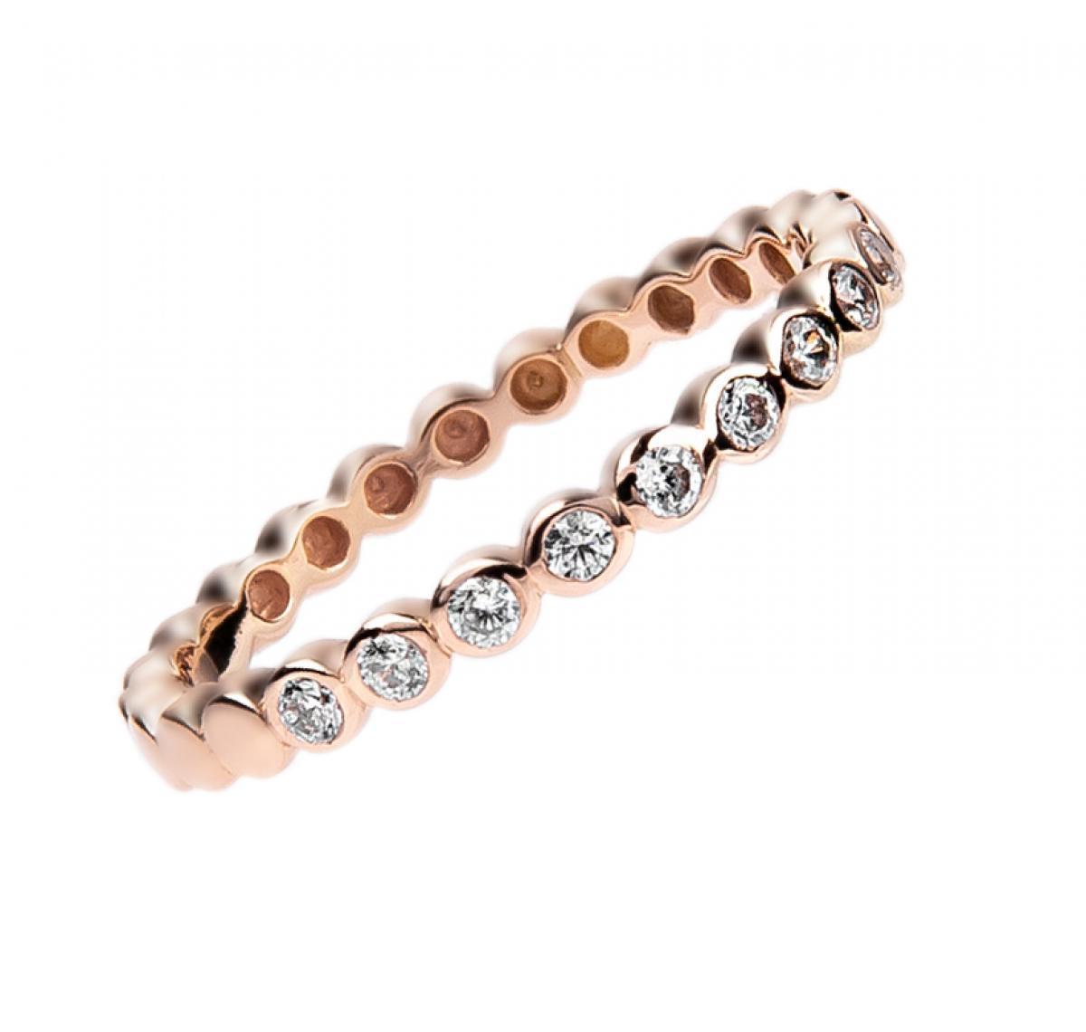 Перстень монобрендовий з цирконієм ``Broderie`` з червоного золота (16)