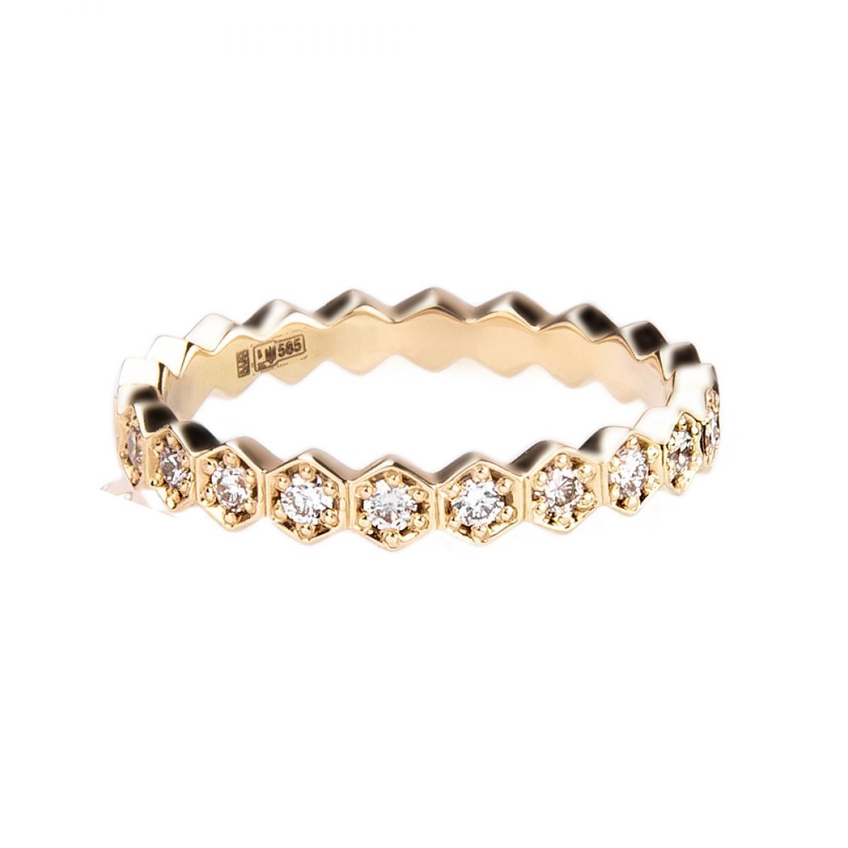 Перстень з діамантами ``Медові соти`` з жовтого золота 420-0176 (17)