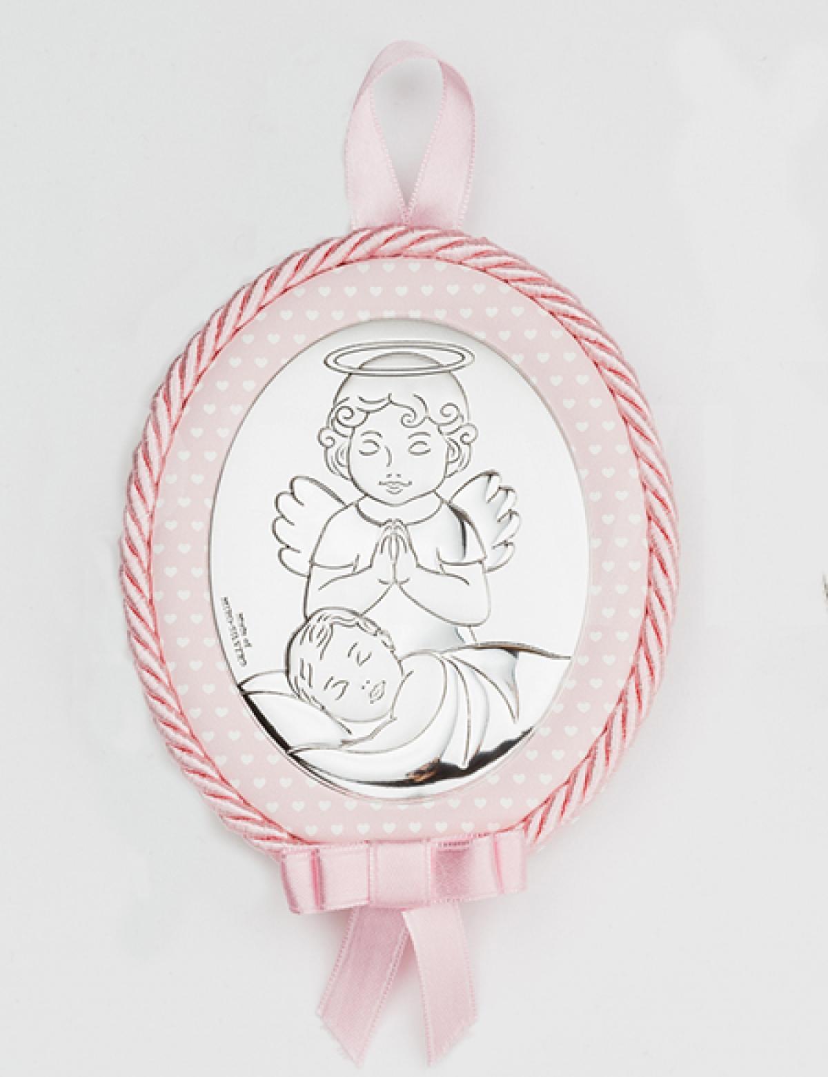 Ікона срібна дитяча ``Ангел над дитиною`` (12х10)