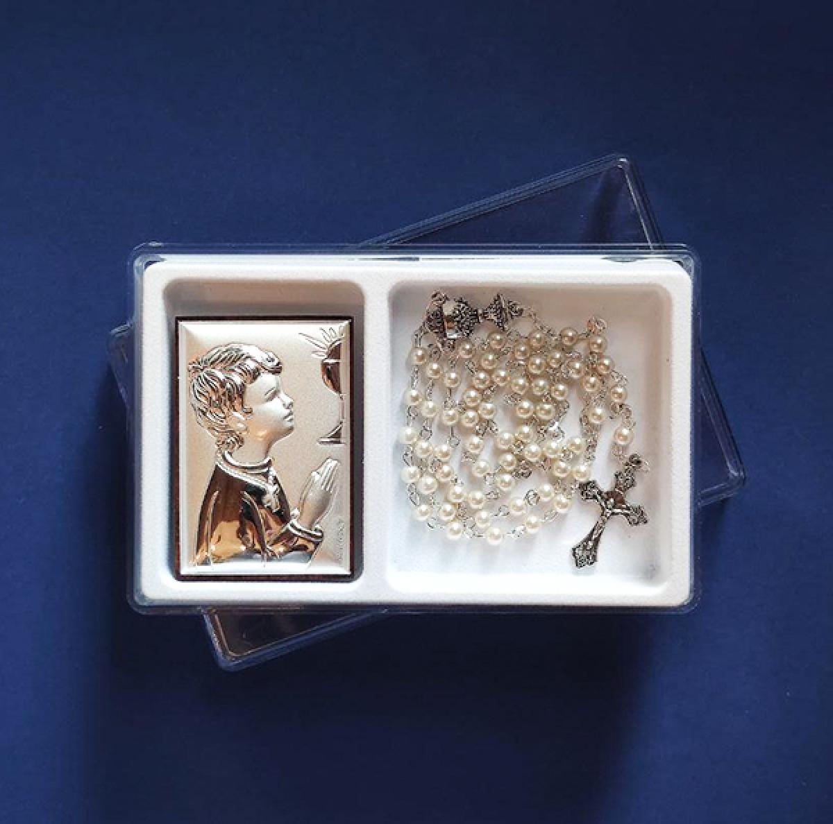 Подарунковий набір до свята Першої сповіді для хлопчика: срібний образ та вервиця