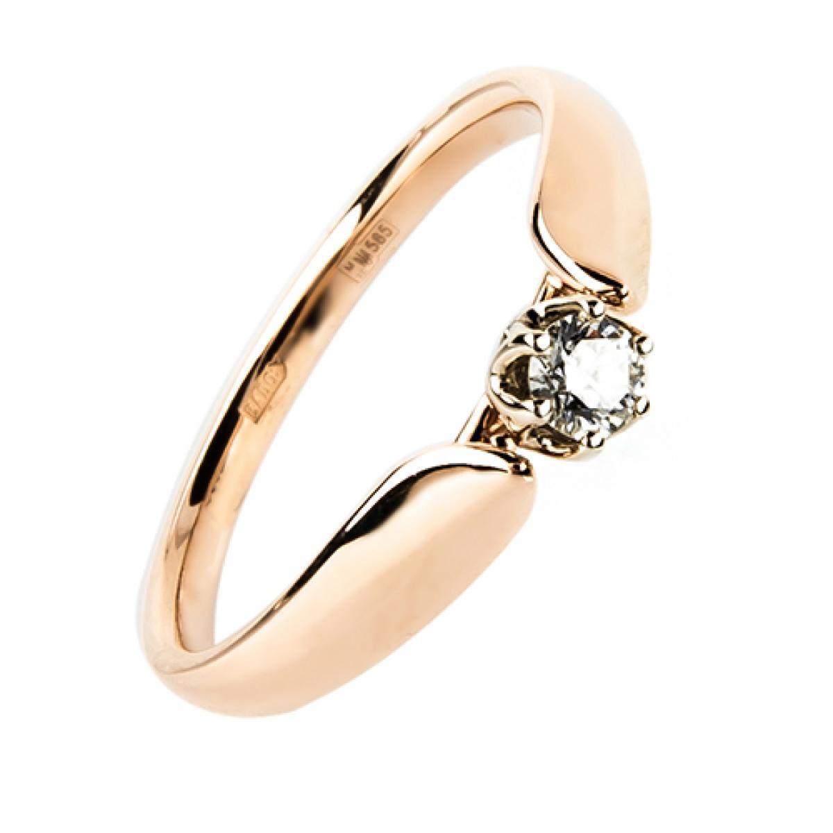Золота каблучка діамантом ``Rose``(15,5-2,77)