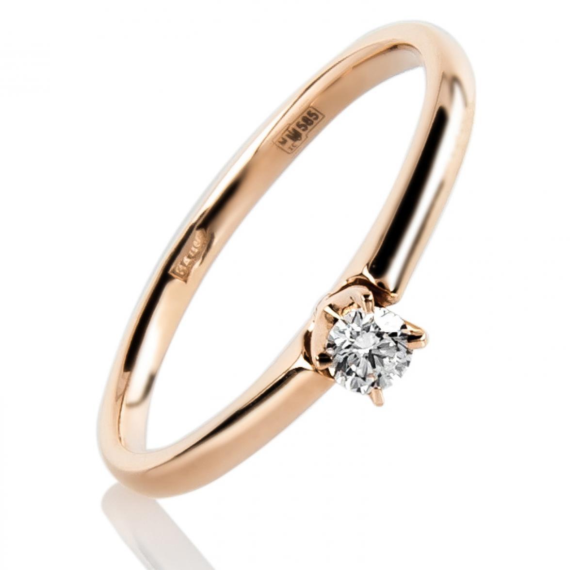 Золотий перстень з діамантом ``Princess``(16,5-1,63)