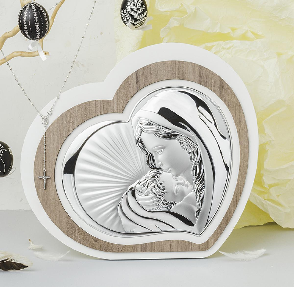 Ікона срібна ``Богородиця з Немовлям`` (20.5х18см) L221 3