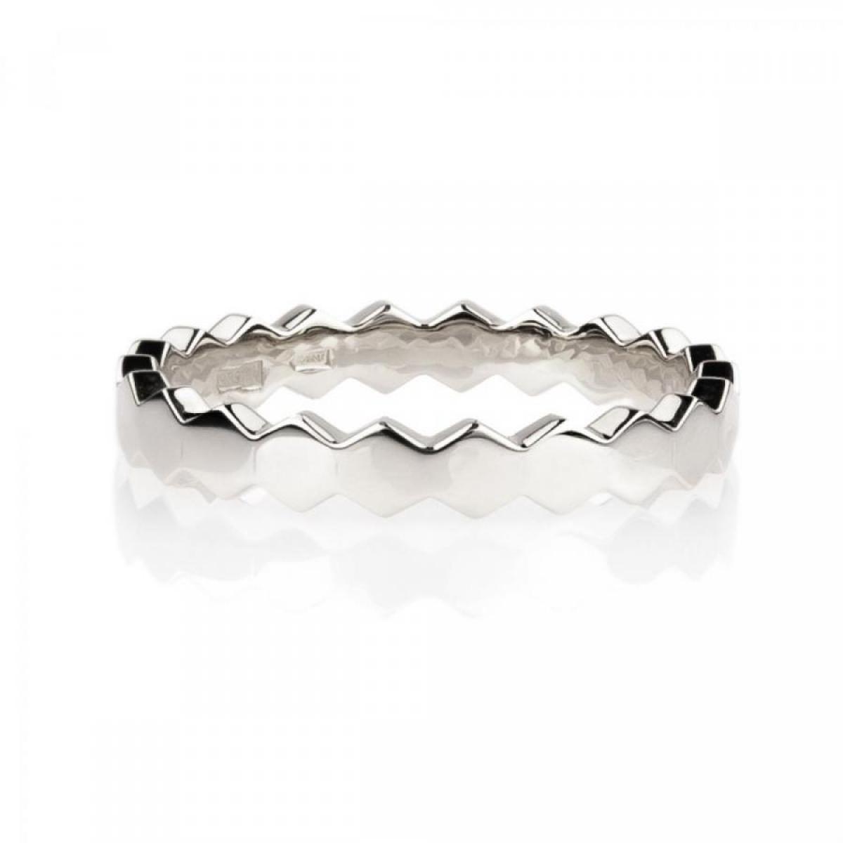 Перстень монобрендовий ``Медові соти`` з білого золота (16,5)