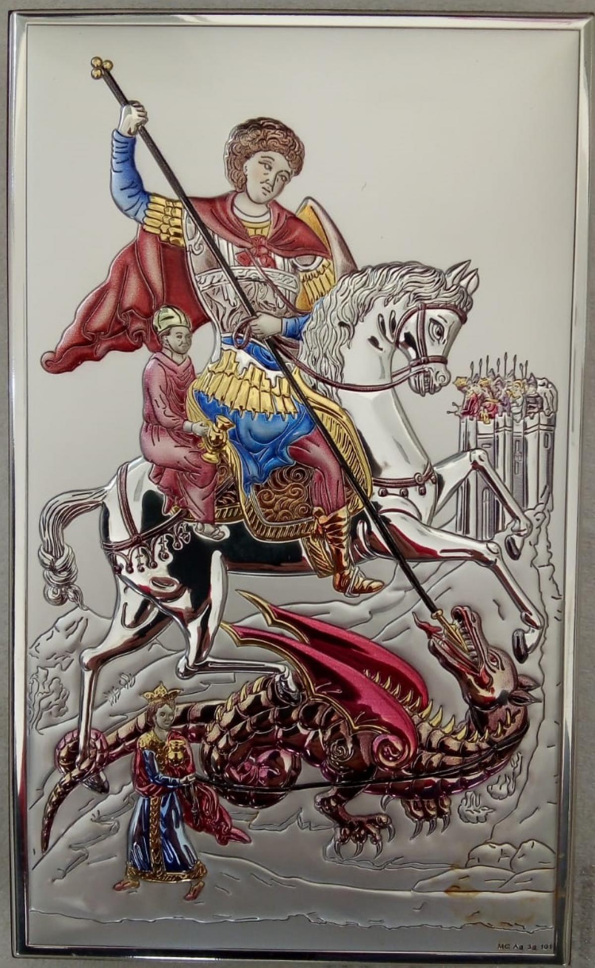 Ікона срібна Святий Георгій 12х20см  18033.4XLCOL