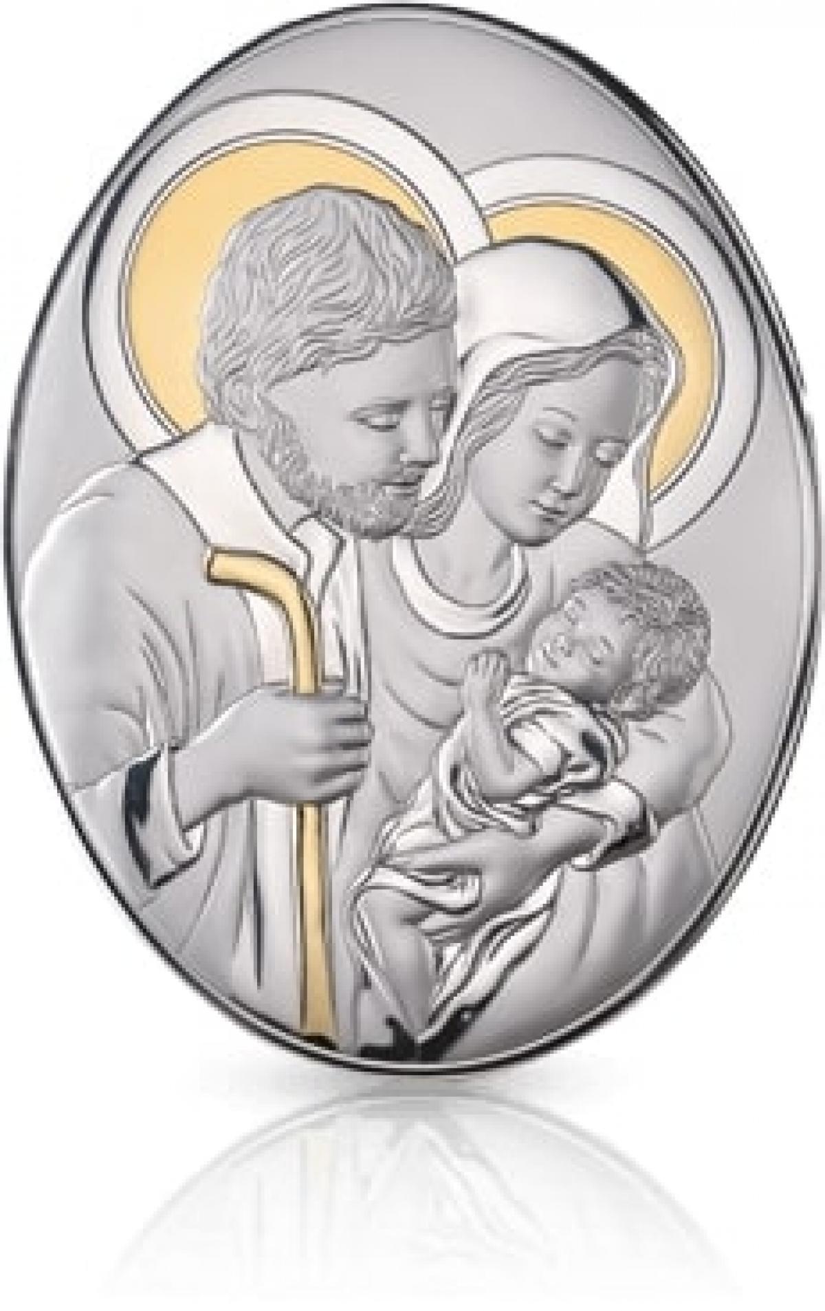 Ікона срібна Свята Родина з позолотою 13х18см 82005 4L