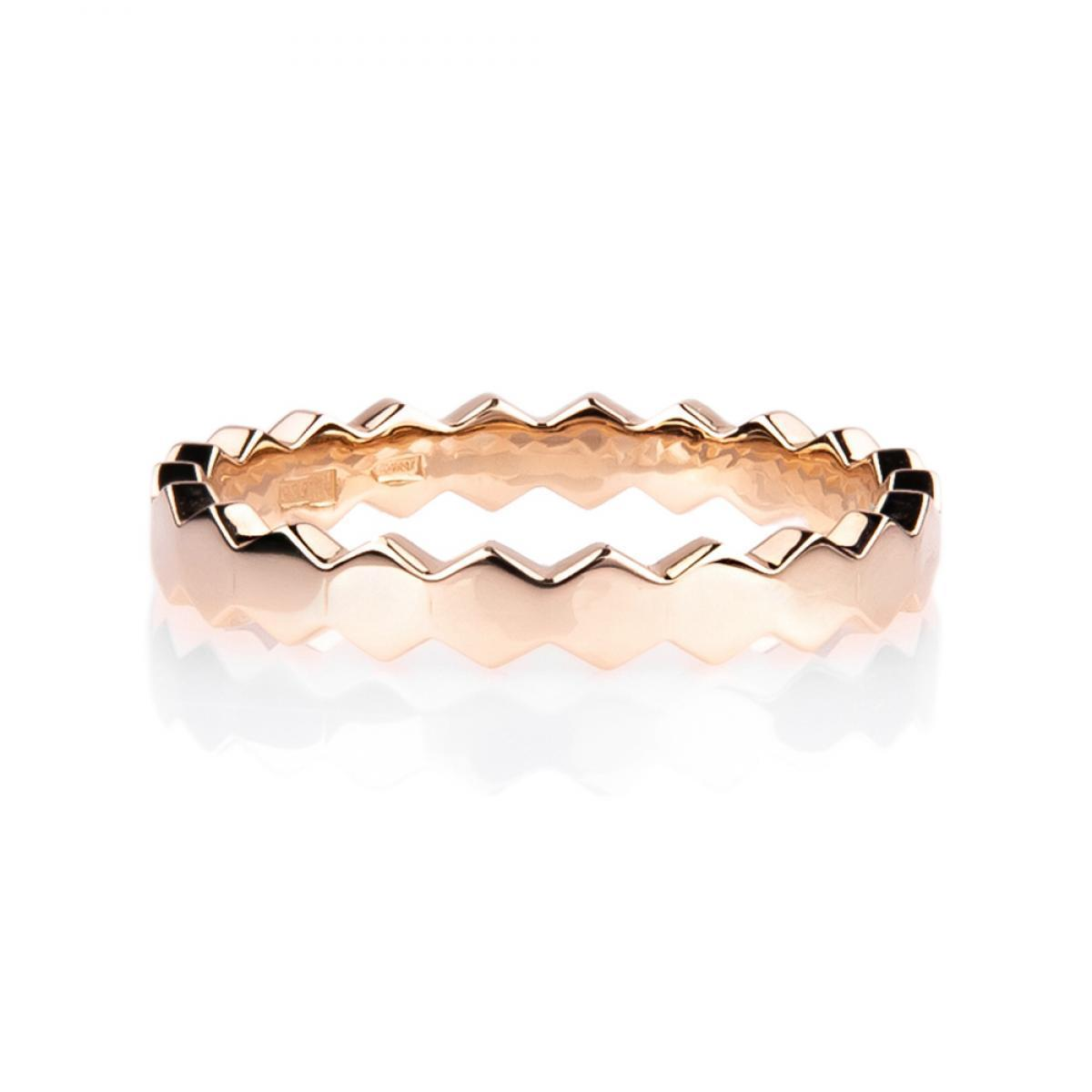 Перстень монобрендовий ``Медові Соти`` з червоного золота (17)