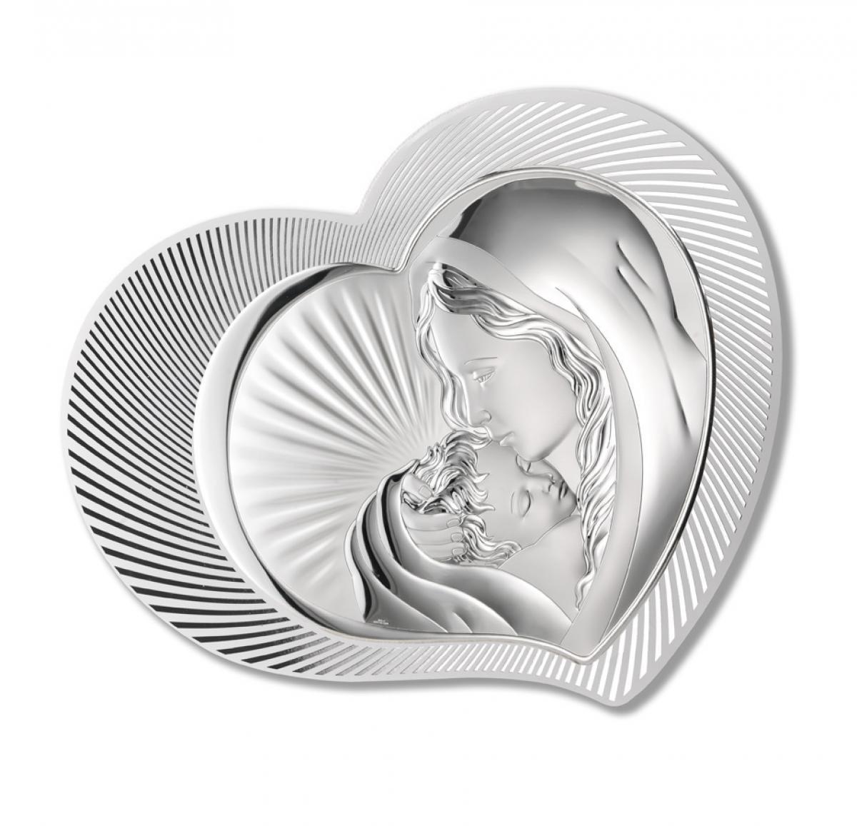 Ікона срібна у формі серця ``Мадонна з Немовлям 37.5х30см  81313.1L