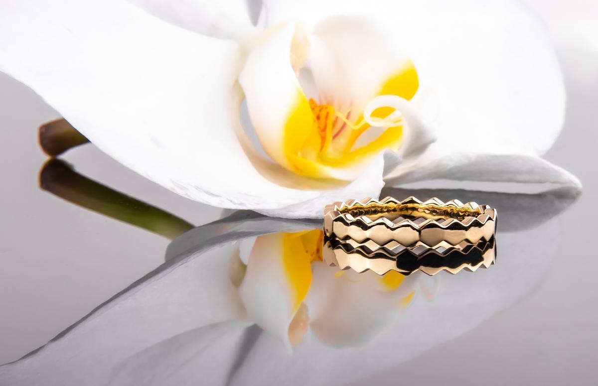 Перстень монобрендовий ``Медові соти`` з жовтого золота  (16)