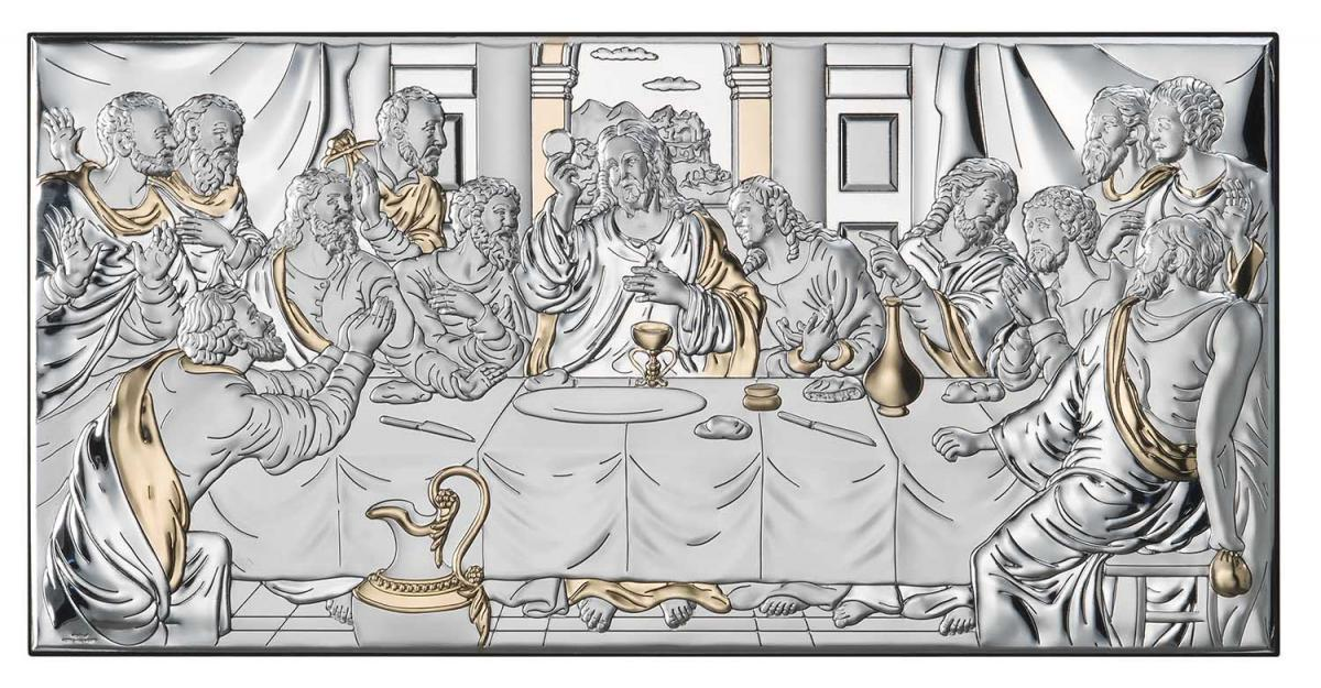 Ікона срібна Тайна Вечеря з позолотою 50х24см 81323 7LORO