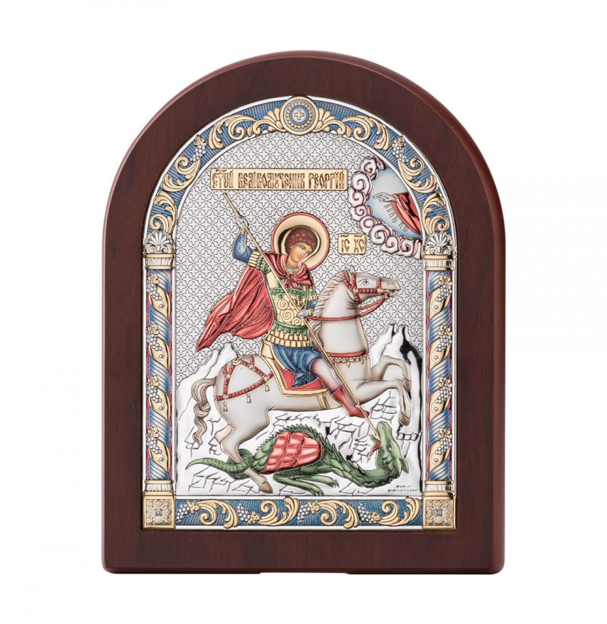 Ікона срібна Святий Георгій 16х20см 84128 4LCOL
