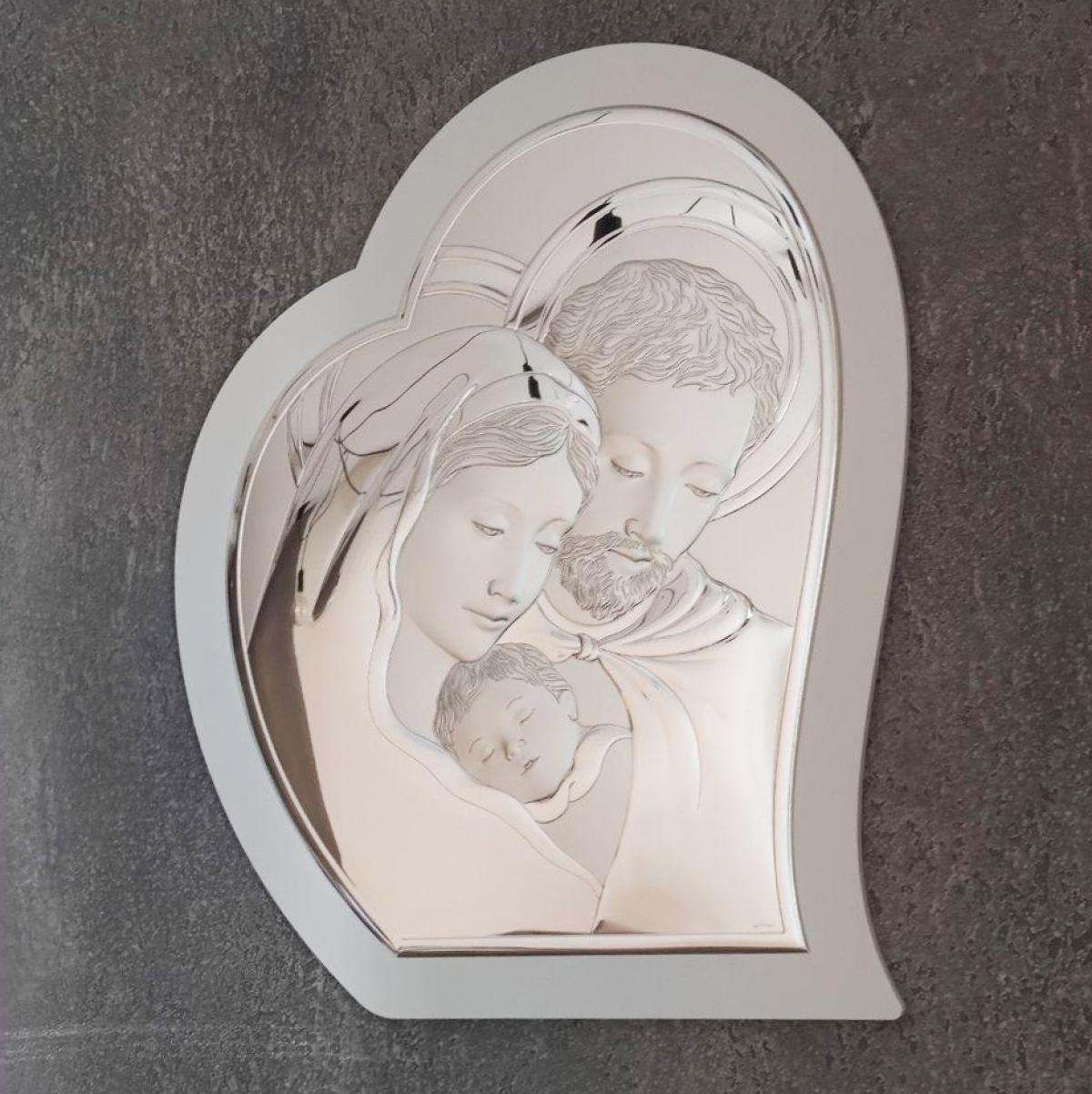 Ікона срібна у формі серця ``Свята Сім`я`` (39х49 см) 81330 6LBI