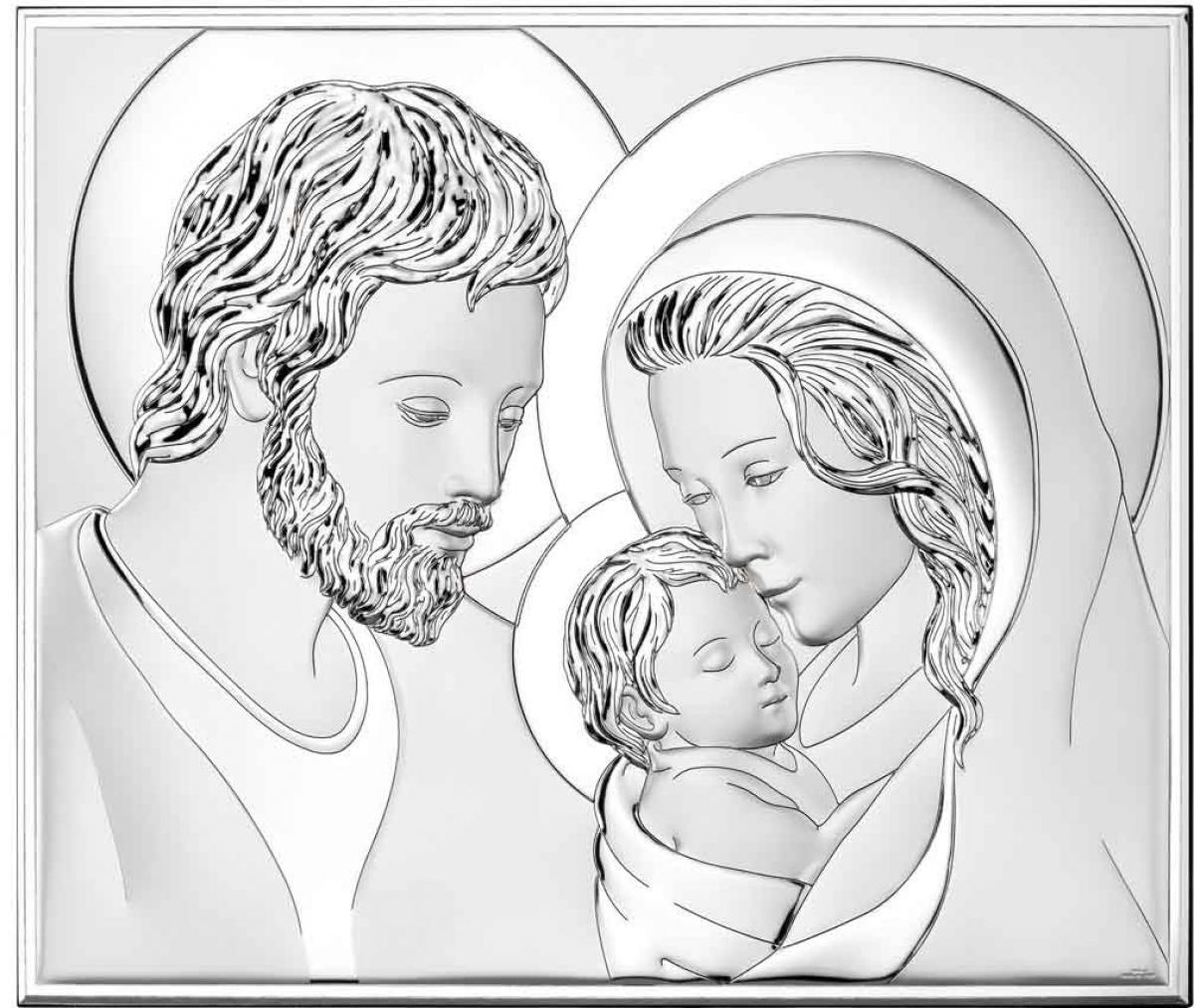 Ікона срібна Свята Родина 26х22см  81340 4L