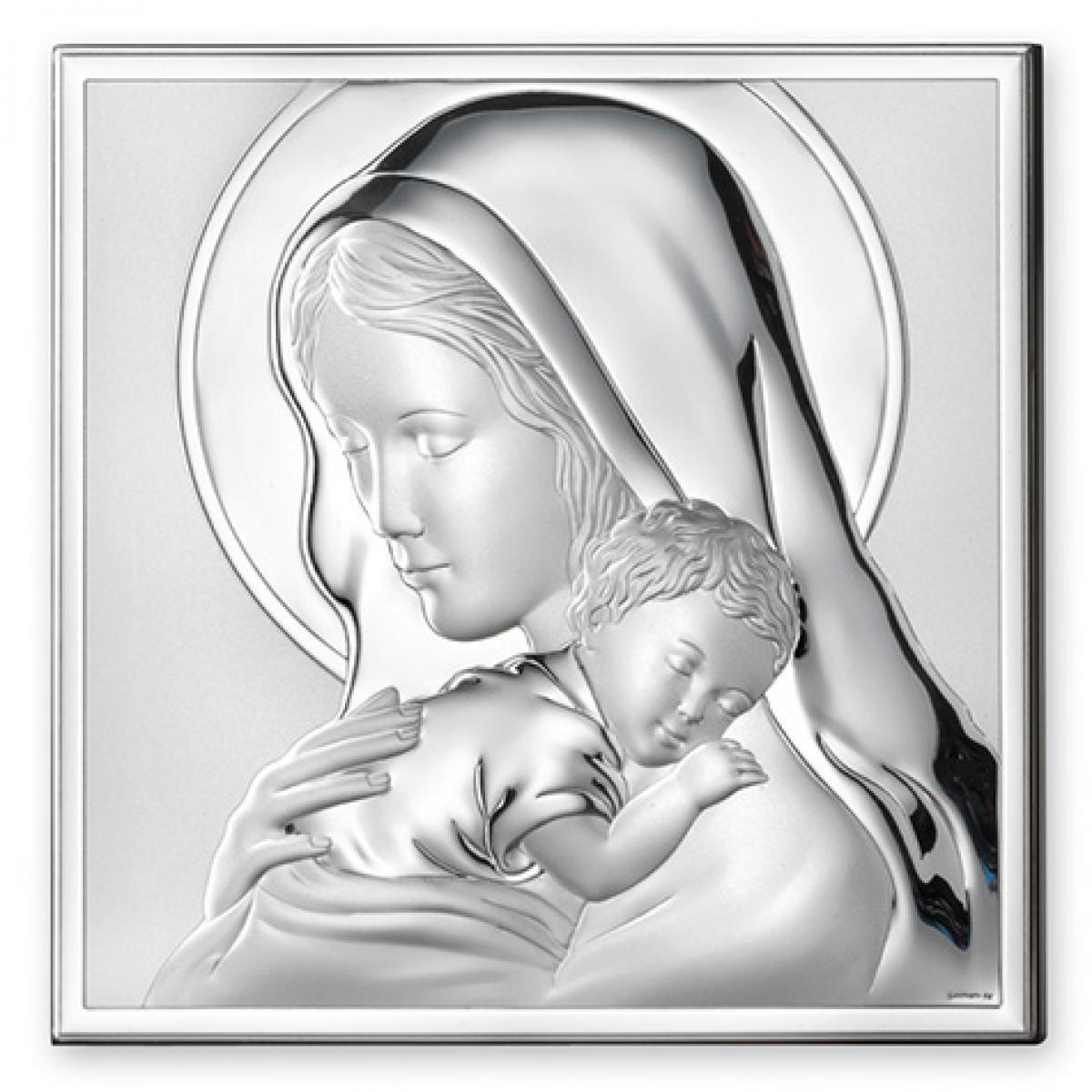 Ікона срібна Мадонна з Немовлям (8х8см) 81243.3L
