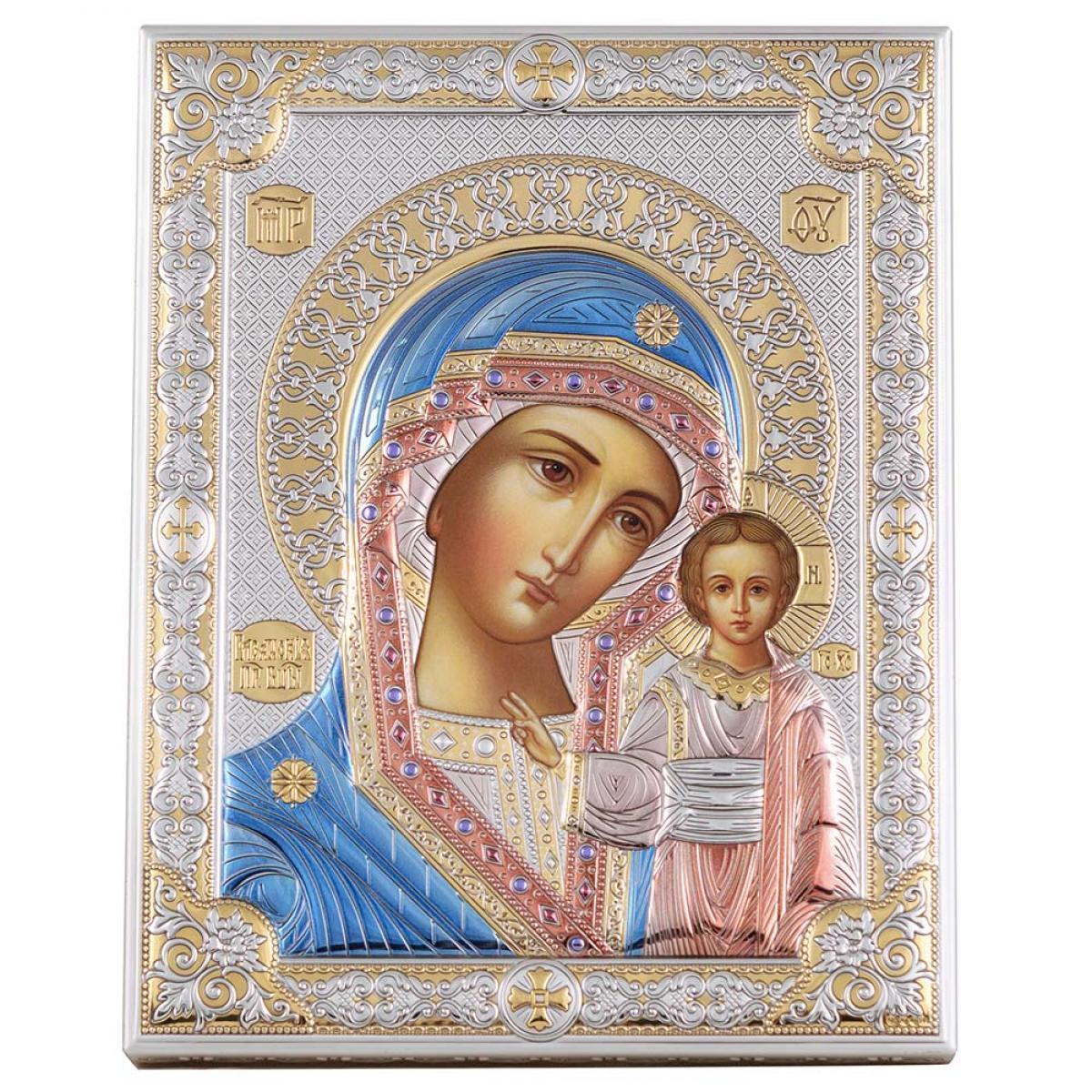 Ікона срібна Казанська Богородиця (12х16см) 85302 3LCOL