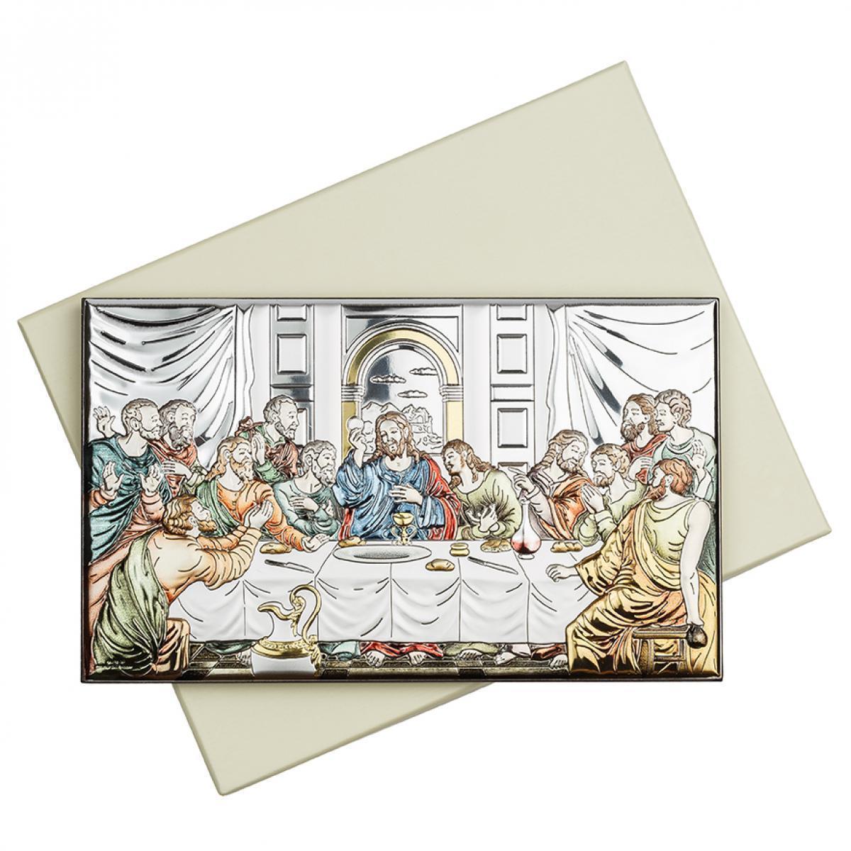 Ікона срібна Тайна Вечеря кольорова 15х9см 81323.3XL.COL