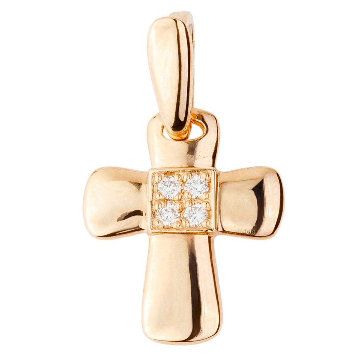 Жіночий золотий хрестик з діамантами
