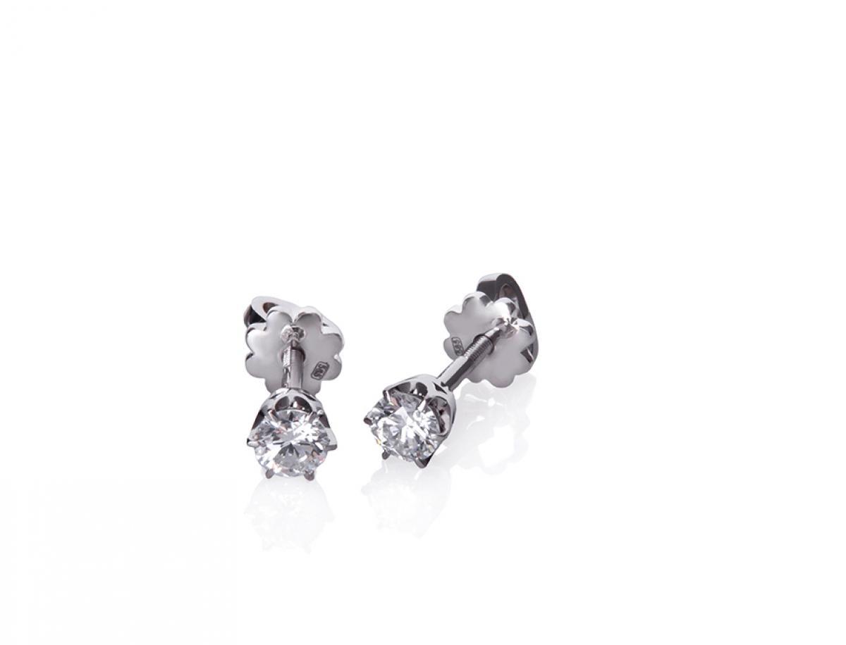 Сережки з діамантами з білого золота STD37б